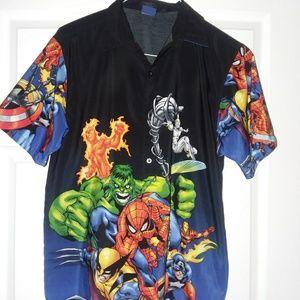Marvel Comics Collared Shirt- M